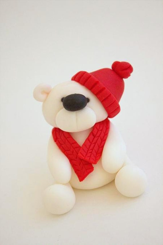 Etsy Christmas Cake Decorations : Items similar to Handmade Fondant Christmas Teddy Bear ...