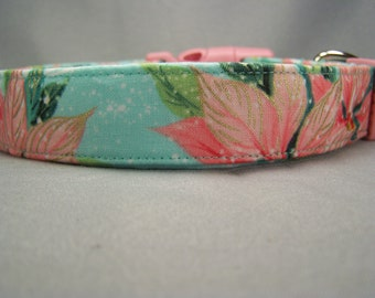Pastel Poinsettias Christmas Dog Collar