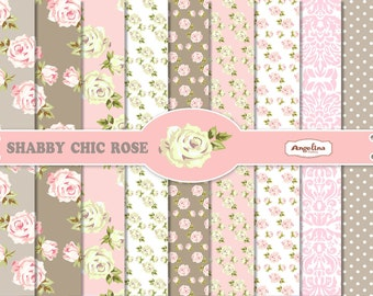 9 Shabby Chic Rose Pink and Gray Digital Scrapbook Papers 8x12 inch for invites, letters, card making, digital scrapbooking