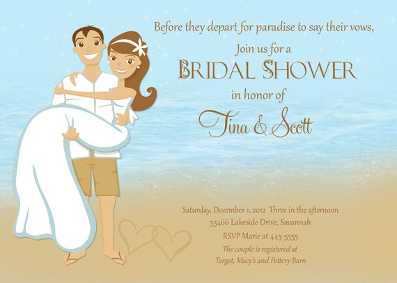 Beach couple shower bridal shower invitation printable for Wedding couples shower invitations