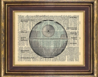 Death Star star wars Deathstar Dictionary page art print book page art print up cycled