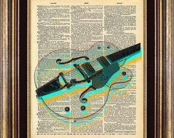 GRETCH Guitar Unique gift Dictionary page art print book page art print up cycled