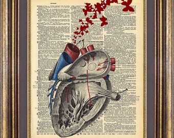 Heart  Butterflies Diagram Print Book page art Vintage Dictionary Page Up Cycled