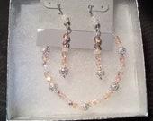 Sweet Elegance Bracelet and Earring Gift Set Pink Blush Crystals Opalescent Silver Filigree