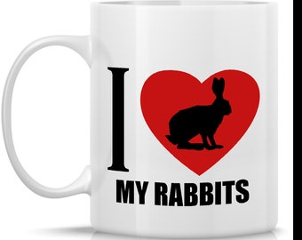 Homestead Rabbits Coffee Mug - I Heart My Rabbits: 11-oz. Porcelain Mug - Farm Animal Theme with Rabbit