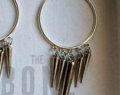 silver spike hoop dangle earrings