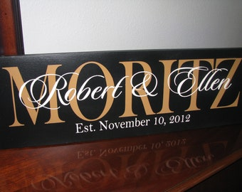 Wedding Sign Established Family Name Sign Painted Solid Wood Sign with Established date and couples names - Perfect Gift Idea