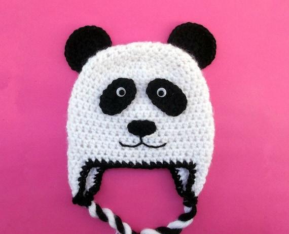 Panda Bear Earflap Hat Crochet Pattern : Panda Bear Hat CROCHET PATTERN Beanie and by PatternStudio1