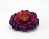 Crochet Flower Pin Brooch - Violet Orange