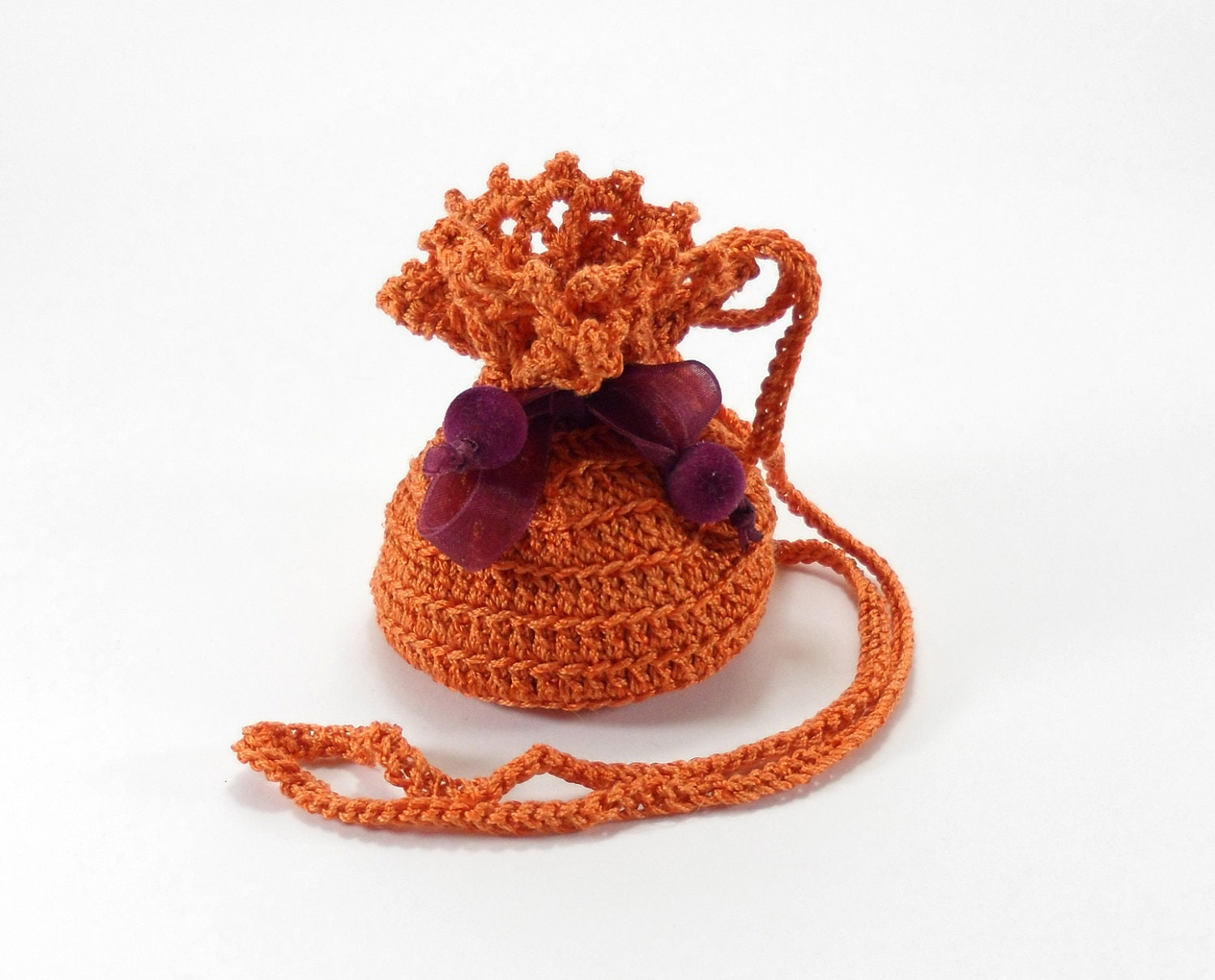 Crochet Small Bag : Crochet Small Pouch Jewelry Bag with Drawstring Orange by Smalkumi