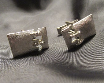 Silver Tone Metal Stitched Design Cuff Links