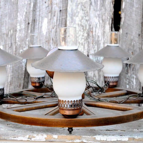 Vintage Western Wagon Wheel Ceiling Light Chandelier 5 Lights