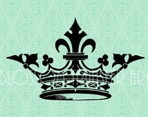 Crown Clipart - Digital Image - Download for papercrafts - Iron on burlap, fabric, totes, pillows - DIY - 1783