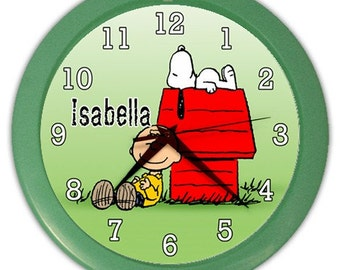 Personalized Snoopy Peanuts Woodstock Name Wall Clock