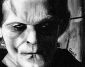 Boris Karloff as the monster of Frankenstein - Horror - Black and White - Universal - Horror - Original art painting by Rouble Rust