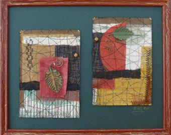 Fallen Leaves- Framed Mixed Media art collage on paper