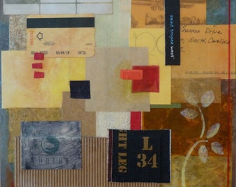 Been There- Mixed Media art collage on board