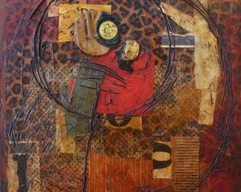 Ponder-Mixed Media art collage on board