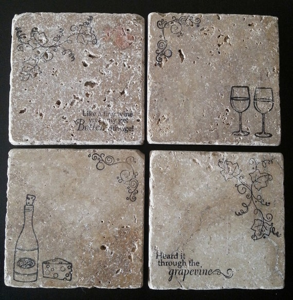 Natural Tumbled Marble Stone Wine Coasters By Fortheloveofpugs