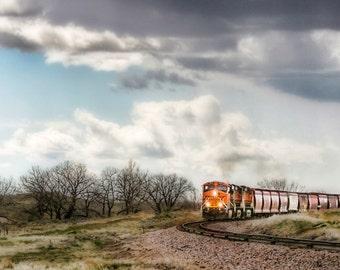 Locomotive-train, clouds, wyoming, photography, tracks, fine art,10x20