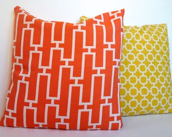 """Modern orange and yellow """"Swavelle Creek Hockley"""" geometric lattice accent pillow cover set with zipper, 18x18."""""""