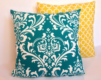 """Turquoise damask and yellow lattice accent pillow cover set with zipper, 18x18."""""""