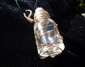 Wire Wrapped Jar with Cork - Necklace - Copper  Silver- Small
