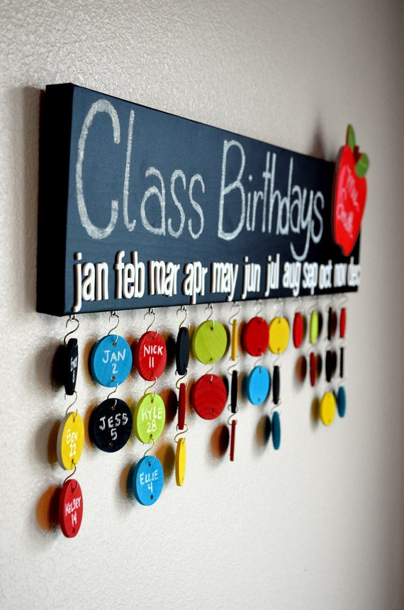 Teacher Gift Chalkboard Class Birthday Calendar 30 Name