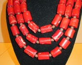 Red, three strand Bamboo coral necklace