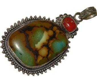 Ront TIBETgalerie TURQUOISE Medallion unique pendant with coral