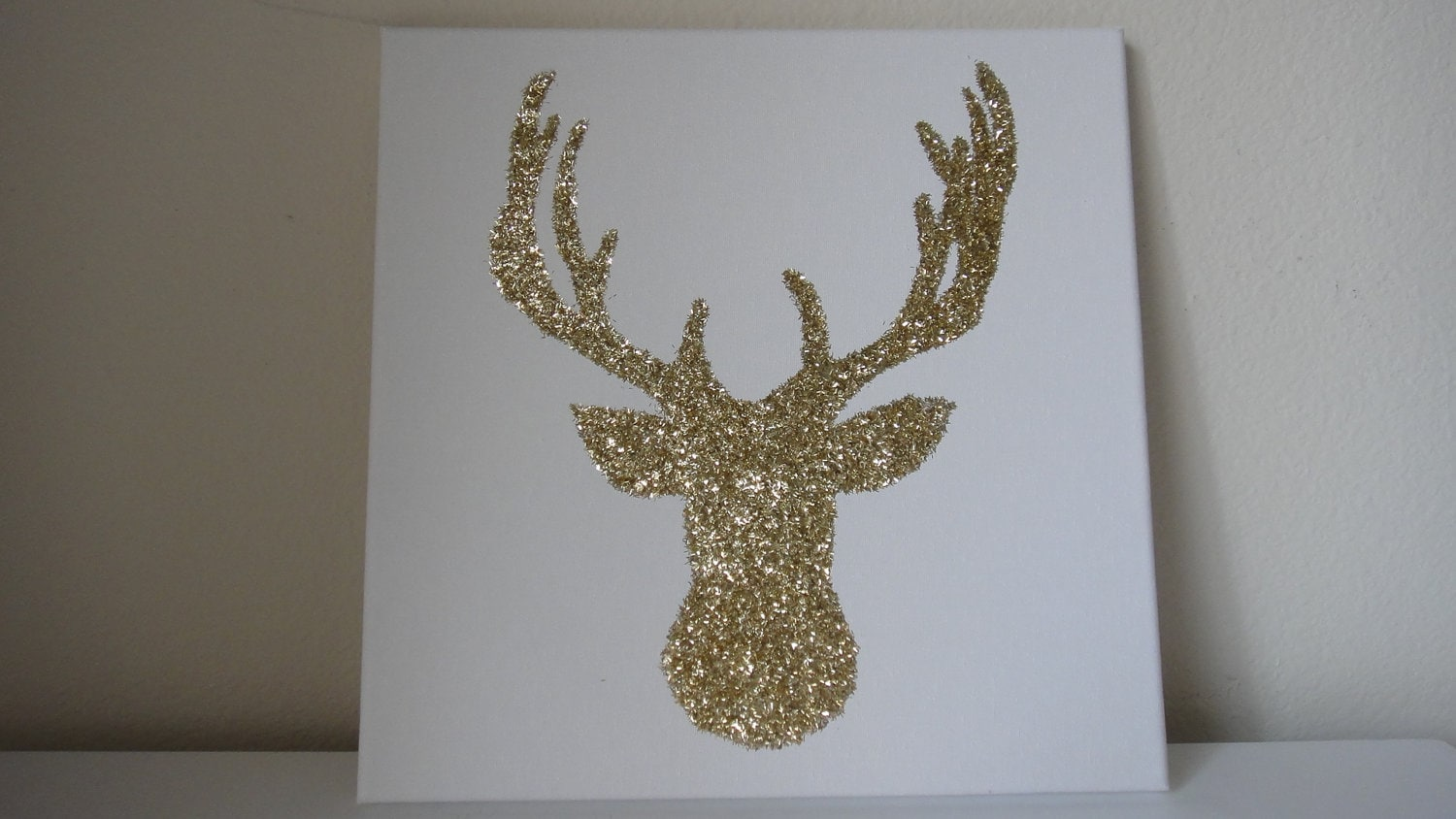 Wall Decor With Glitter : Gold glitter reindeer deer canvas wall art