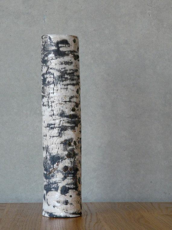 vase 39 kleiner birkenstamm 39 raku keramik. Black Bedroom Furniture Sets. Home Design Ideas
