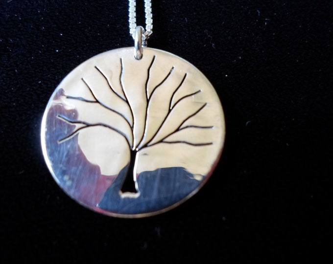 "Tree of Life necklace w/ 18"" sterling silver chain Quarter size"
