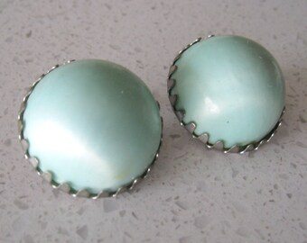 Vintage 1950s  Baby Blue Button Clip On Earrings