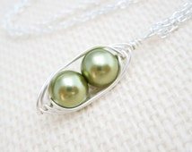 Peapod Necklace, Light Green Pearls, Silver Wire Wrapped