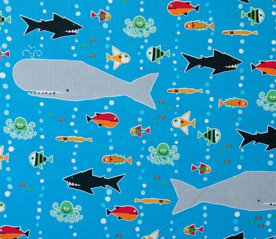 Cloud9 sea life fabric ed emberley fabric ocean by maigocute for Children of the sea fabric