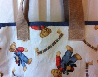 Medium Tote Bag w/ Bear Fabric
