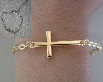 "Gold Sideways Horizontal Cross bracelet 6.5"" with 1.5"" extension"