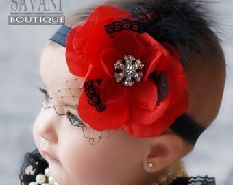 red and black baby headband,vintage headband, shabby chic roses headband, girls headband, valentine's day