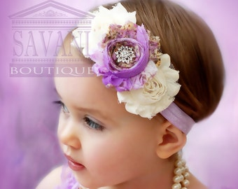 lavender and white Baby headband, vintage headband, shabby chic  headband, headband