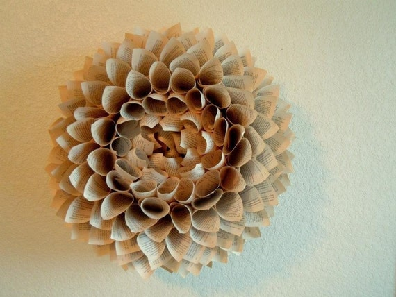 Petal Book Page Wreath