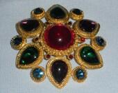 Large Jewel Tone & Gold Vintage Costume Brooch