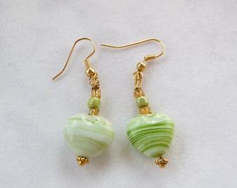 Green dangle heart pierced earrings