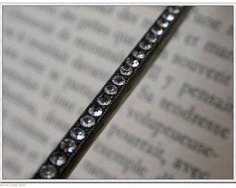French vintage art deco 1930s brooch sterling silver long brooch stamped faux diamond crystal rhinestone brooch