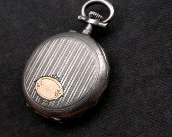 French antique art nouveau sterling silver engraved flower gold vermeil signed woman pocket watch