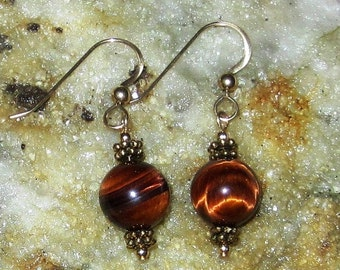Genuine red brown tigereye earrings with gold filled French earwires