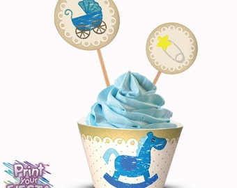 Print Your Fiesta digital party set - Shabby Blue Baby Shower Cupcake Kit - cupcake wrappers, circle toppers, Free shipping