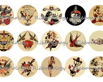 1 Inch Sailor Jerry Tattoo Bottle Cap Graphics 4x6 15 Images Per Sheet
