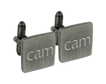 Brushed Engraved Silver Square Cufflinks