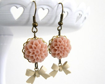 Pink Flower Cabochon & Ivory Enamel Bow Dangle Earrings, Bridesmaid gifts, Mom Gift, Friend Gift